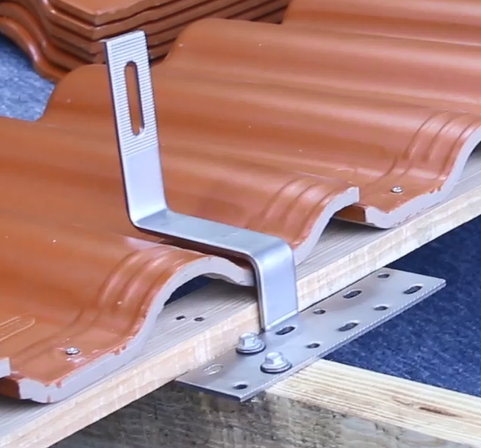 Solar tile roof hook
